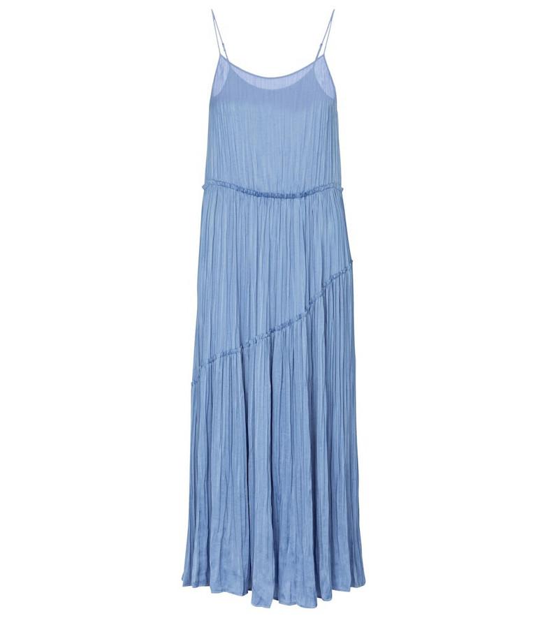 Vince Pleated crêpe jersey midi dress in blue