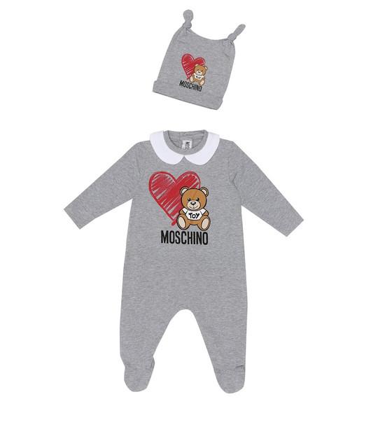 Moschino Kids Stretch-cotton onesie and hat set in grey