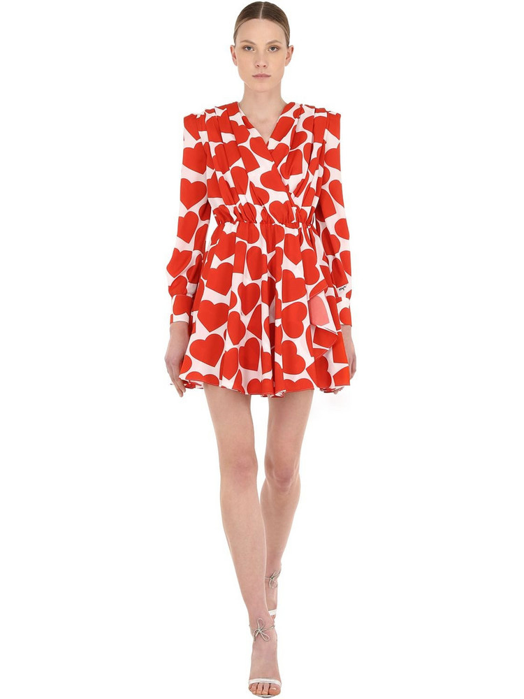 MSGM Heart Printed Crepe Mini Dress in red / white