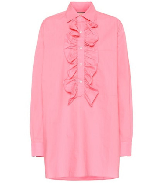 Plan C Oversized ruffled cotton blouse in pink