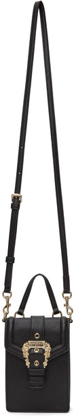 Versace Jeans Couture Black Top Handle Buckle Bag in nero