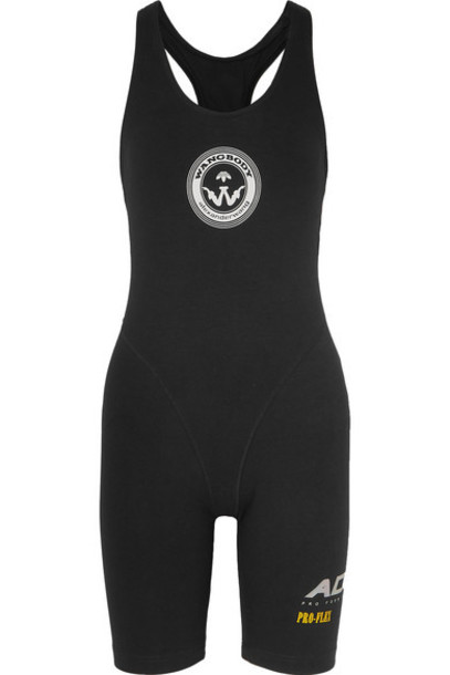 Adidas Originals By Alexander Wang - Printed Stretch-cotton Bodysuit - Black