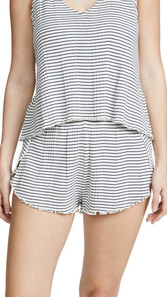 Madewell Ribbed Knit Pajama Shorts in ivory