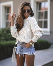 sweater,white sweater,cable knit,denim shorts,bag