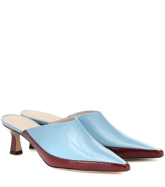 Wandler Bente patent leather mules in blue