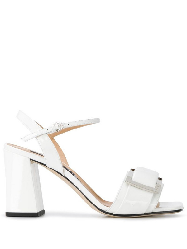 Sergio Rossi buckled 85mm heeled sandals in white