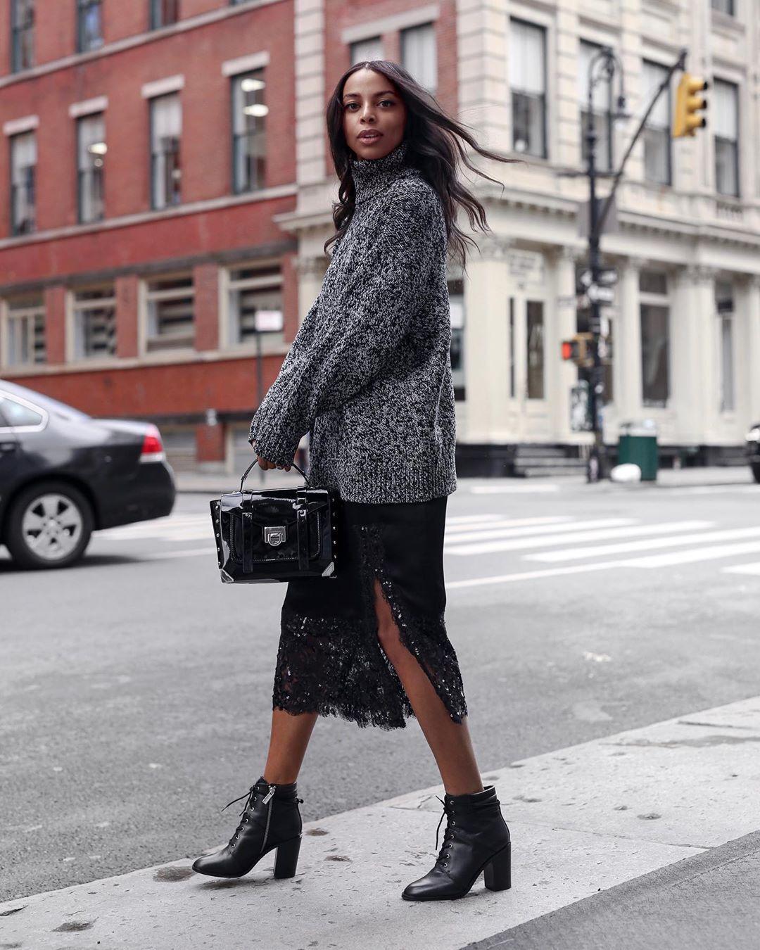 sweater turtleneck sweater ankle boots black boots midi skirt lace skirt blakc bag michael kors