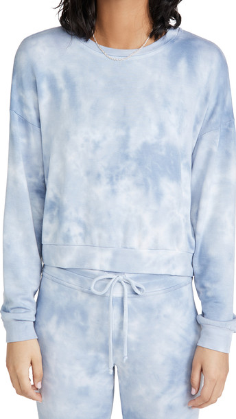 Beyond Yoga Garment Dye Day To Day Pullover in blue / grey