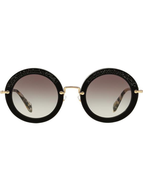 Miu Miu Eyewear embellished circle sunglasses in black
