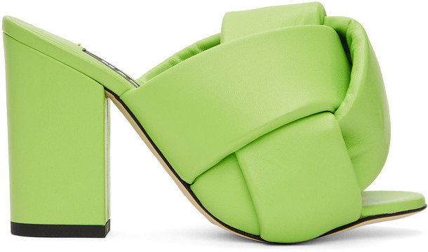 MSGM Green Intertwined Heeled Sandals