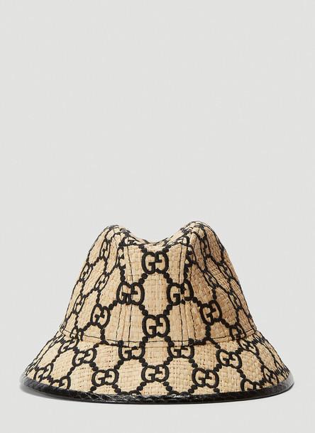 Gucci Woven-Straw Bucket Hat in Beige size M