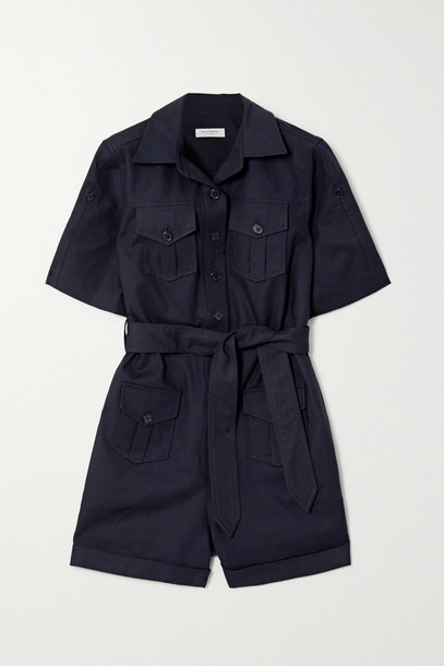 EQUIPMENT - Paulena Belted Cotton-blend Twill Playsuit - Blue
