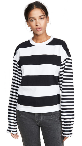 Opening Ceremony Cropped Stripe Sweatshirt in black / white