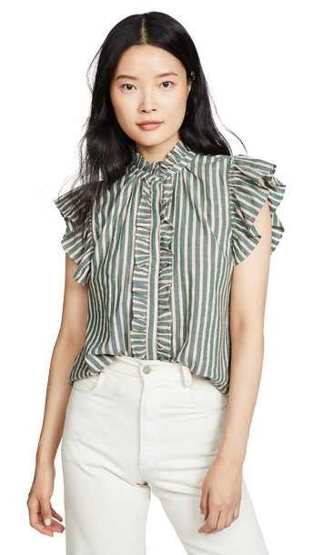 Birds of Paradis Paige Ruffle Trim Blouse in green / copper