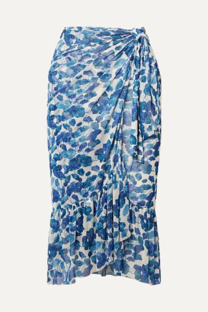 Adriana Degreas - Ruffled Floral-print Mesh Pareo - Blue