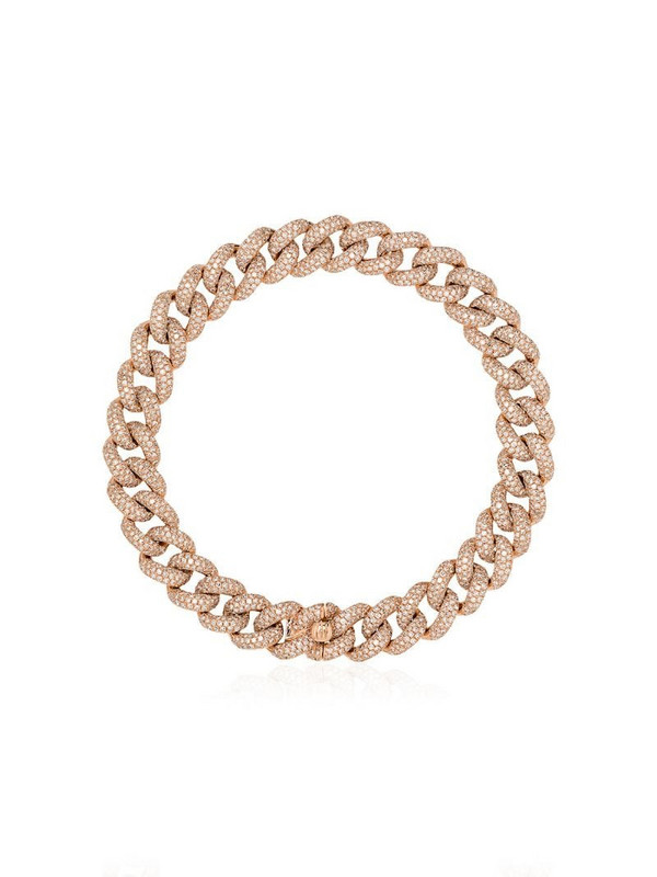 SHAY 18kt rose gold pavé diamond 8 inch link bracelet
