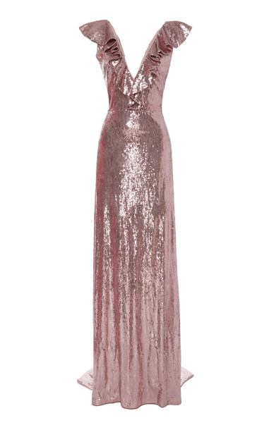 Monique Lhuillier Sequin Ruffled V-Neck Gown Size: 2 in pink