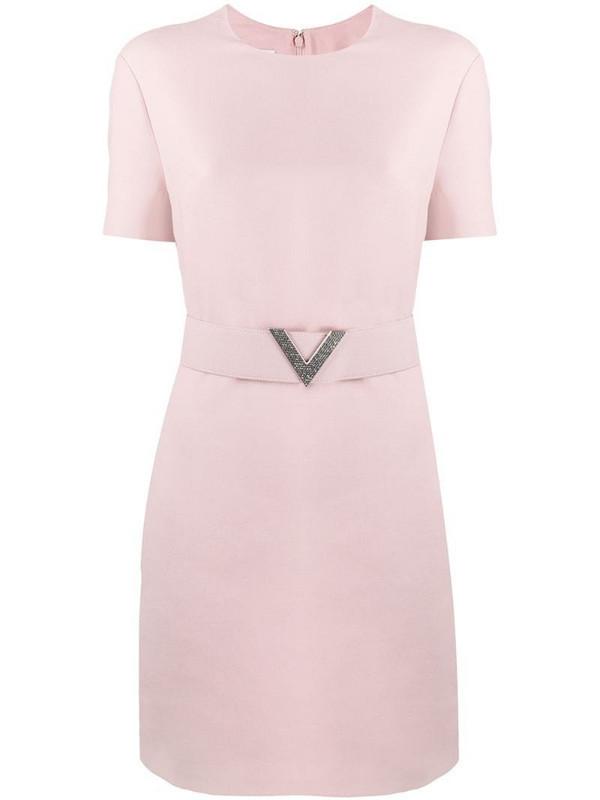 Valentino crepe V pavé belted dress in pink
