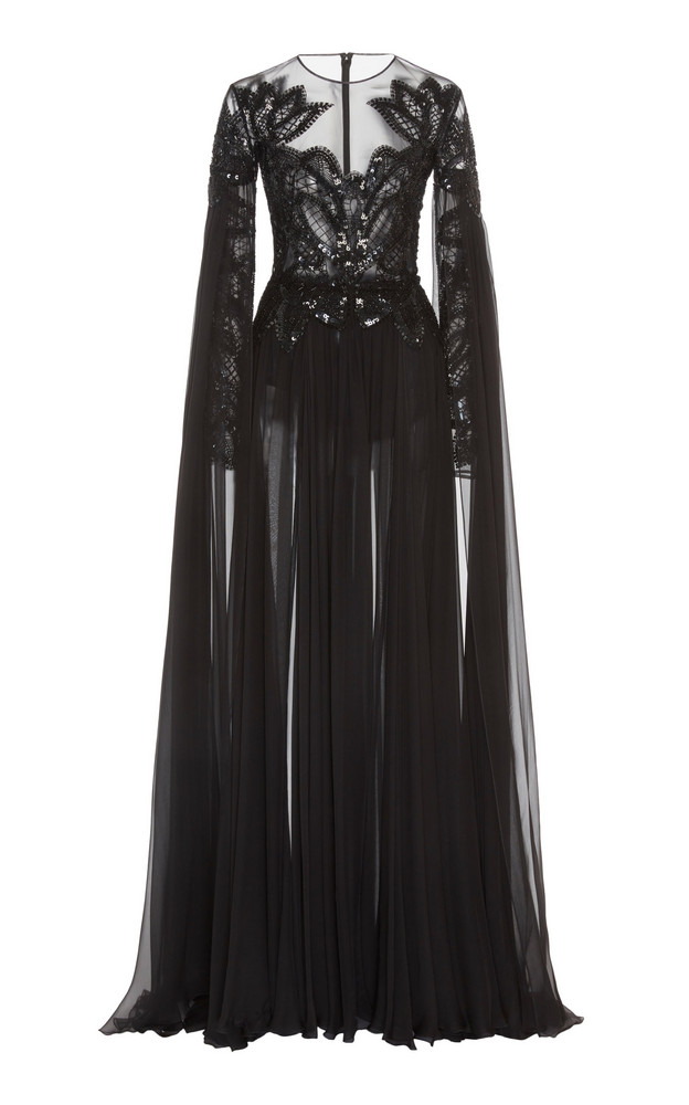 Zuhair Murad Pamplona Cape-Effect Embroidered Silk-Chiffon Gown Size: in black