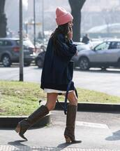 shoes,knee high boots,brown boots,fendi,blue jacket,denim jacket,oversized jacket,white dress,mini dress,beanie