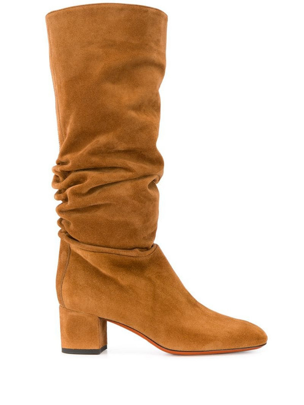 Santoni slouch boots in brown