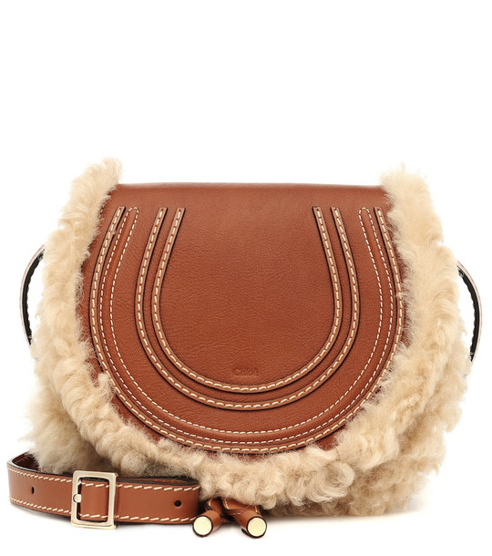 Chloé Marcie Mini leather shoulder bag in brown