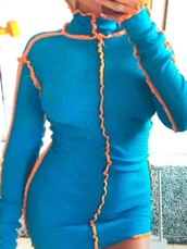 dress,blue,orange,seams,mini dress,high collar,beautiful,pretty
