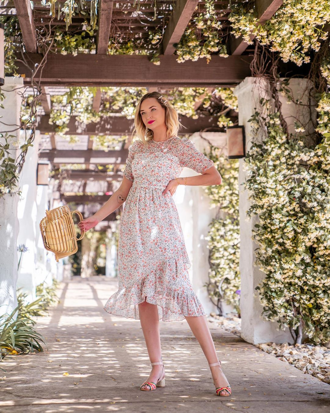 bag handbag midi dress floral dress short sleeve dress sandal heels