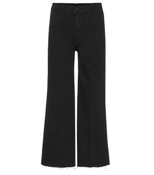 Mother Swooner high-rise wide-leg jeans in black