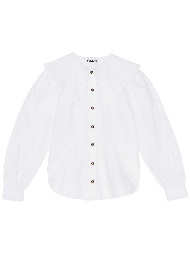 GANNI Cotton Poplin Shirt W/ Ruffles in white