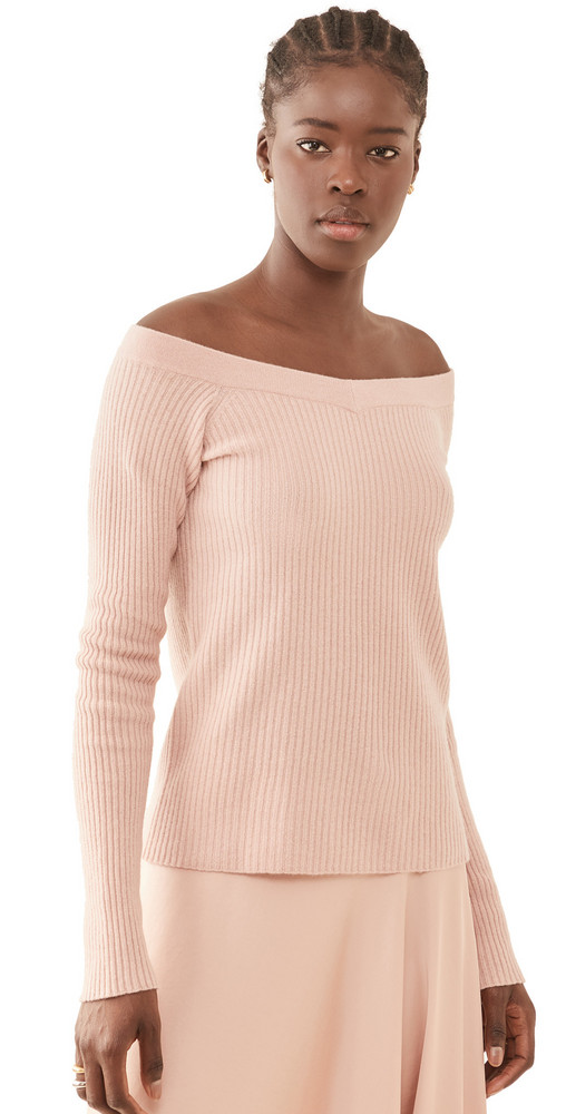 LAPOINTE Ribbed Off Shoulder Fitted Cashmere Sweater in blush