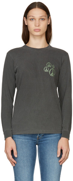 Museum of Peace & Quiet Grey Peace Maker Long Sleeve T-Shirt in charcoal