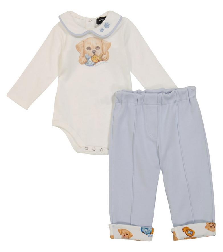 Monnalisa Baby cotton bodysuit and sweatpants set in white