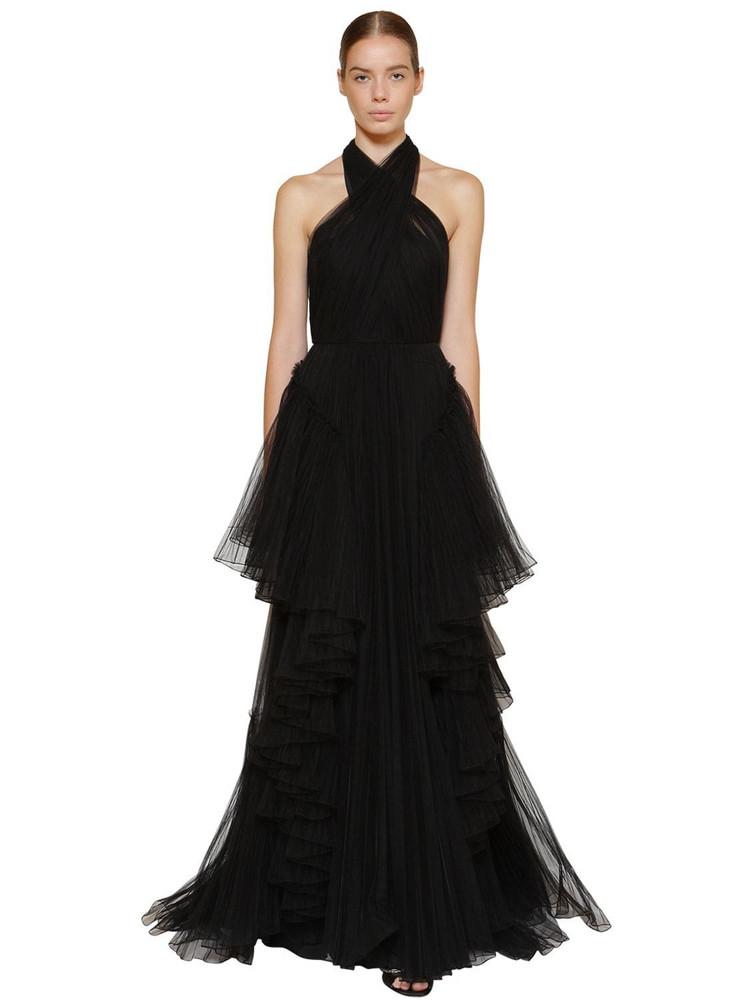 ALBERTA FERRETTI Long Layered Tulle Dress in black