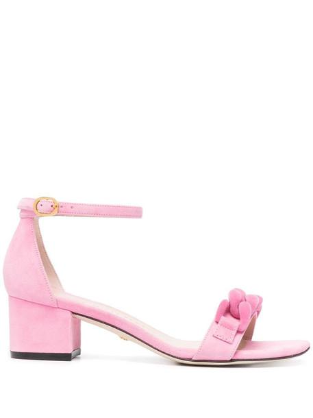 Stuart Weitzman appliqué buckle sandals in pink