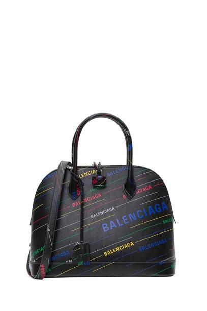 Balenciaga Ville Handbag With Allover Logo in nero