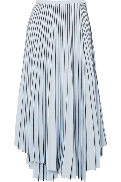 Proenza Schouler - Asymmetric Pleated Cady Wrap Skirt - Blue