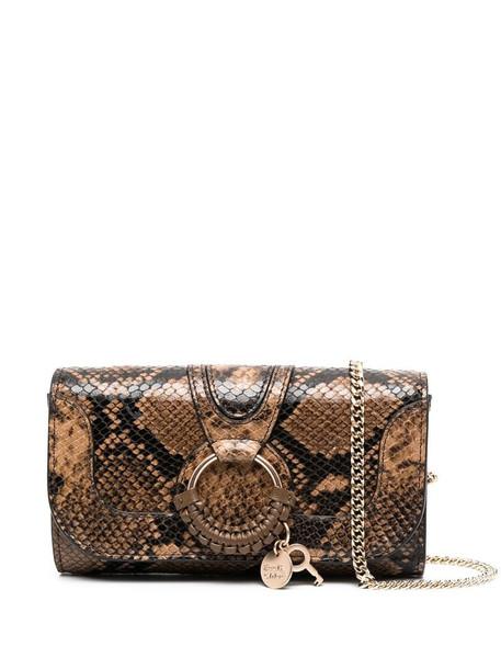 See by Chloé snake-effect crossbody bag in brown