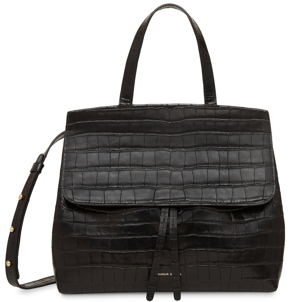 Mansur Gavriel Croc Embossed Leather Mini Lady Bag - Black