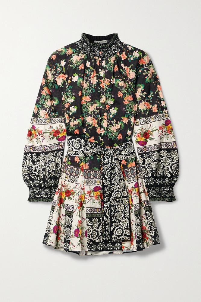 Alice + Olivia Alice + Olivia - Janis Belted Printed Stretch-cotton Mini Dress - Black