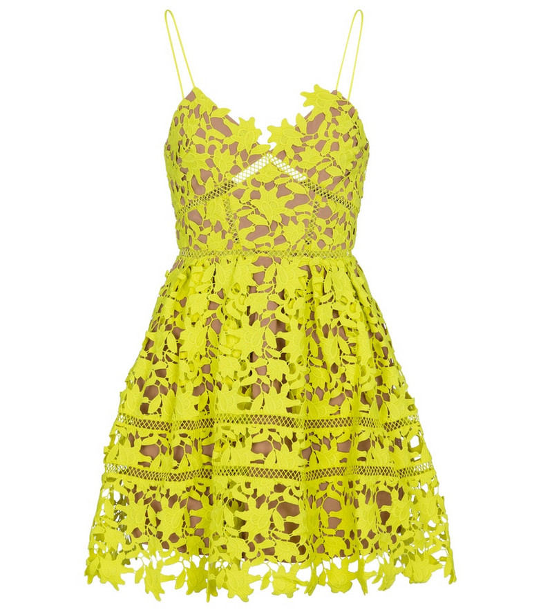 Self-Portrait Floral lace minidress in green