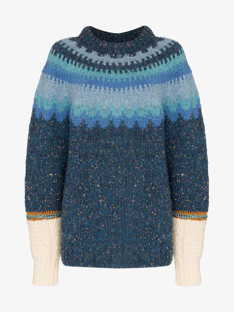 Rentrayage Isle of Skye wool jumper in blue