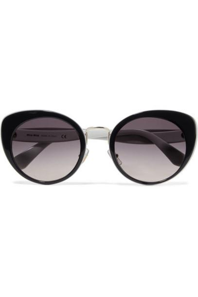 Miu Miu - Cat-eye Two-tone Acetate And Gold-tone Sunglasses - Black