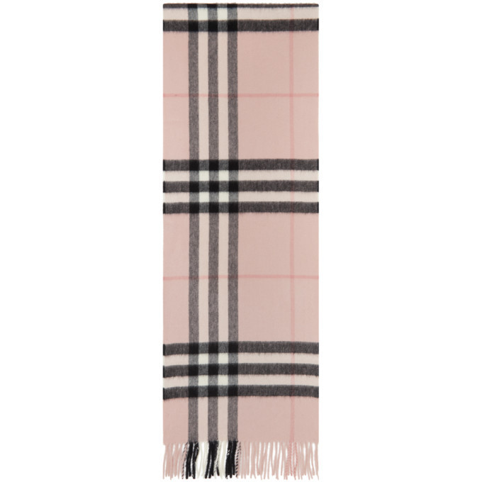 Burberry Pink Cashmere Check Giant Scarf in rose