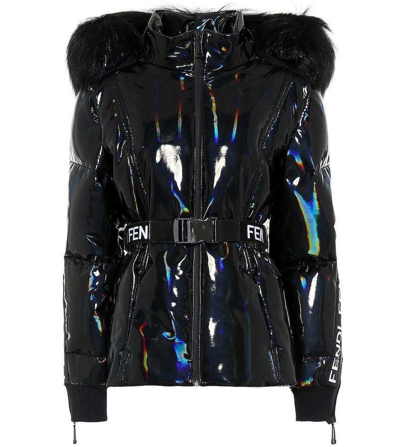 Fendi Holographic fur-trimmed down jacket in black