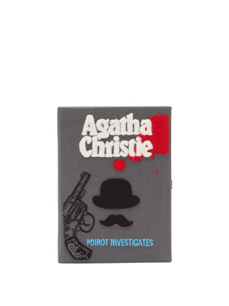 Olympia Le-tan - Poirot Investigates Embroidered Book Clutch Bag - Womens - Grey Multi