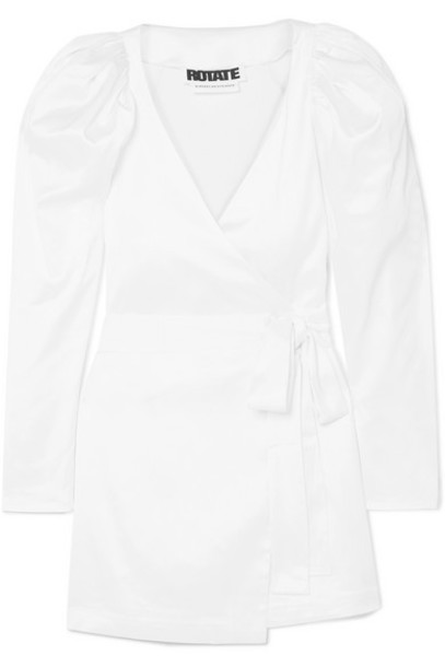 ROTATE Birger Christensen - Stretch-satin Wrap Mini Dress - White
