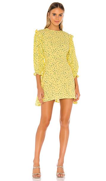 FAITHFULL THE BRAND Edwina Mini Dress in Yellow