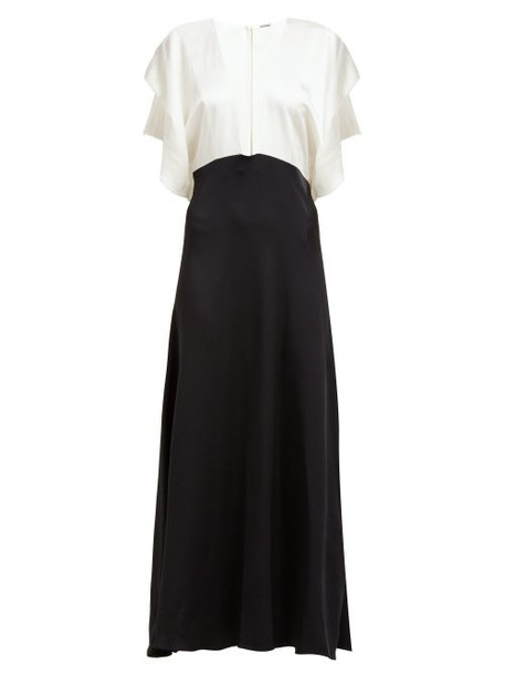 Dodo Bar Or - Byon V Neck Satin Maxi Dress - Womens - Black White