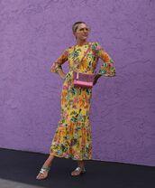 dress,maxi dress,floral dress,long sleeve dress,flat sandals,shoulder bag